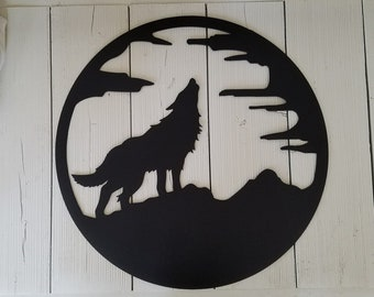 Metal Wolf Howling at the Moon Wall Art, Cabin, Lodge Decor