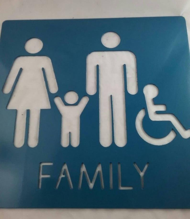 Enjoyable Custom Metal Bathroom Signs Family Bathrooms Handicap Sign Download Free Architecture Designs Xaembritishbridgeorg