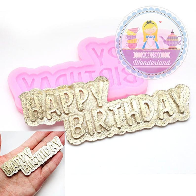 Happy Birthday Round Plaque Silicone Mold for Fondant Gum Paste Chocolate Crafts
