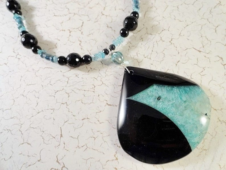 Gemstone Necklace Aqua With Black Necklace Druzy Geode Agate Necklace Handmade Jewelry Necklace Aqua Necklace Birthday Mothers Day Gift