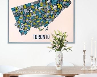 Toronto Neighbourhood Map Poster or Print, Original Artist of Type City Neighborhood Map Designs, Toronto Typography Map Art Gift