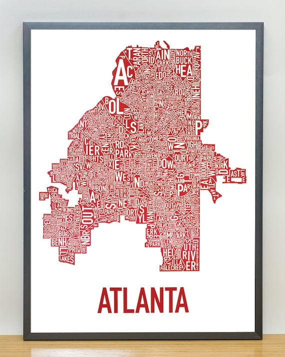 Atlanta Neighborhood Map Poster or Print Original Artist of