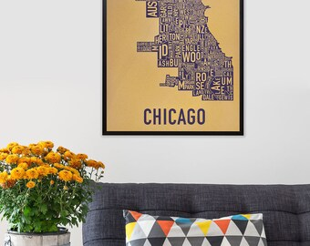Chicago Neighborhood Map Screen Print, Original Chicago Typographic Neighborhood Map Design, Chicago Map Artwork, Chicago Poster, Local Gift