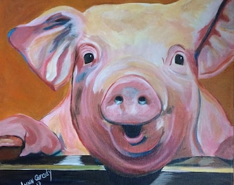 Kevin Bacon Squeaky Pig Piggy Piglet 12x12 Acrylic Painting