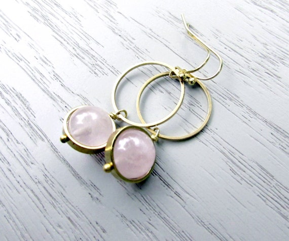 Delicious berries Brass rose quartz and wooden beads earrings