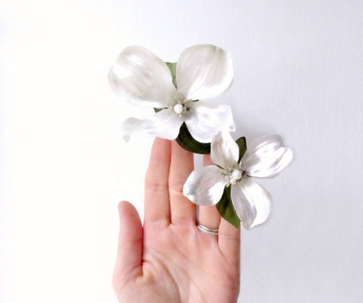 Bridal Hair Pins Ivory Floral Hair Clips White Flower Hair Etsy