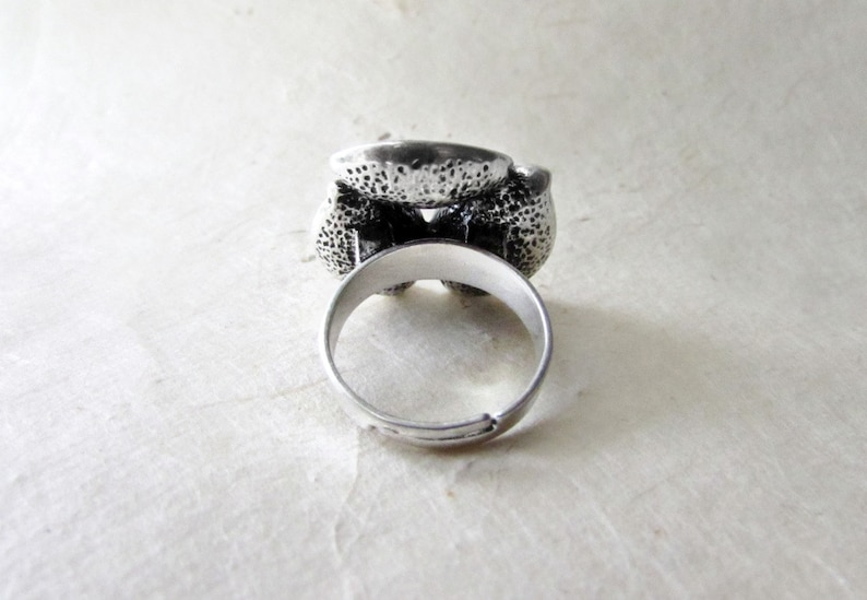 Silver Flower Ring Large Cocktail Ring Adjustable Band Oxidized Silver Statement Ring White Pearl Ring Etched Petals Calla Lily Ring
