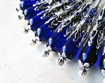 Blue Teardrop Earrings, Cobalt Blue Earrings, Czech Glass Jewelry, Silver Filigree Earring, Royal Blue Beaded Earrings, Blue and Silver