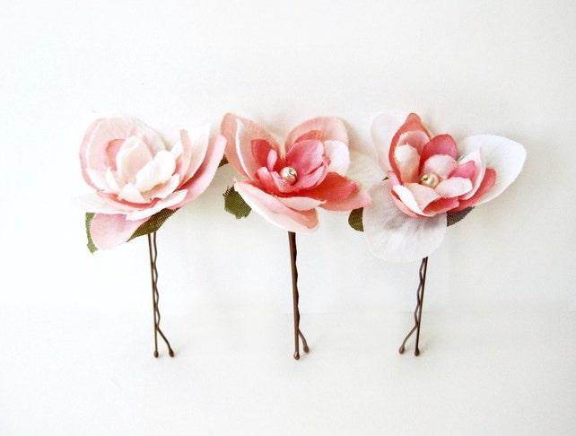 Wedding Hair Pins Pink And Ivory Flower Bobby Pins Bridal Hair