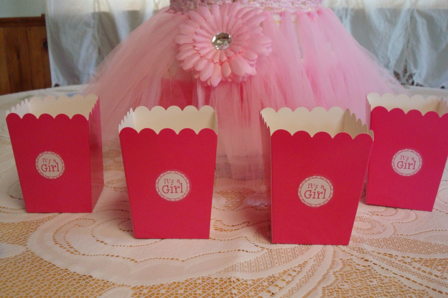 It\'s A Girl Popcorn Favor Boxes Girls Baby Shower Favors | Etsy