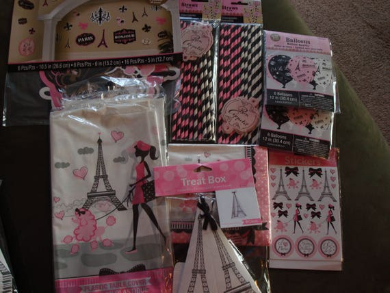 A Day In Paris Theme Birthday Party Decorations Table Cloth Scene Setter Cut Out Decor Napkins Cupcake Picks Stickers Baby Shower