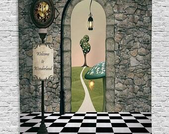 Alice in Wonderland Scene Setter; Alice in Wonderland Decorations; Mad Hatter Decorations; Wonderland Tapestry; Home Decor; Birthday decor