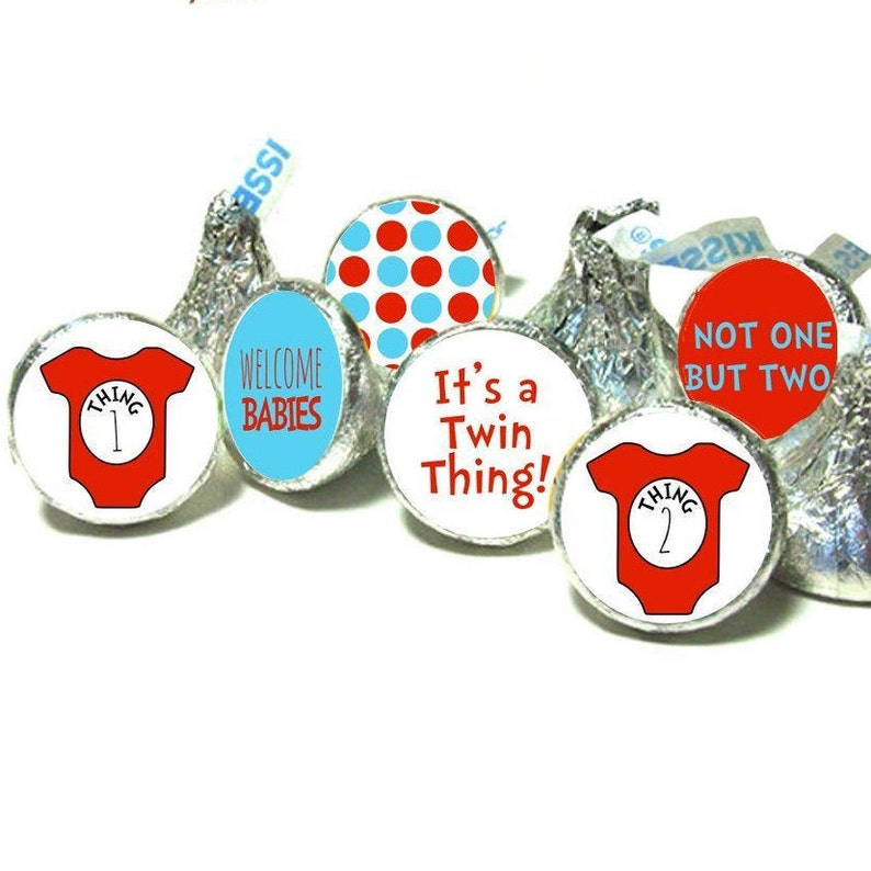 Seuss Cat in the Hat Party Favors Hershey Kiss Labels Stickers SET OF 108 Dr