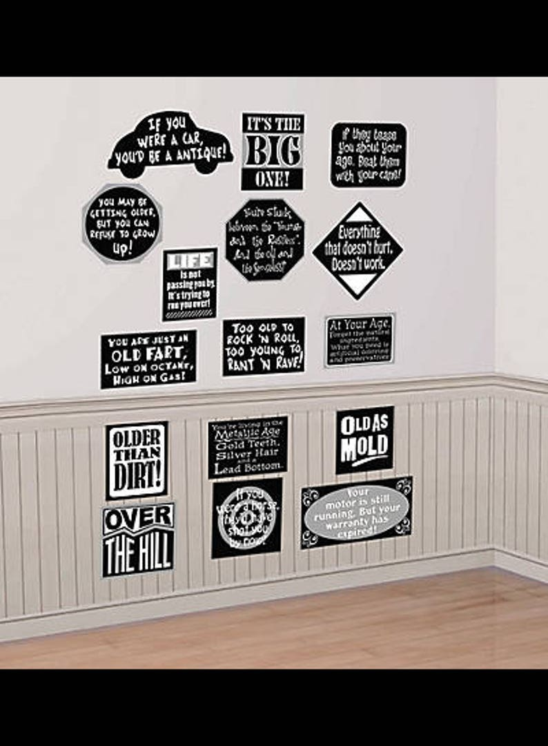 Over The Hill Birthday Party Wall Decorations Vinyl Cutouts