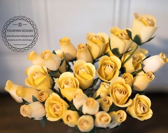 Pale yellow flowers etsy pale yellow wooden roses set of 5 open and closed mightylinksfo