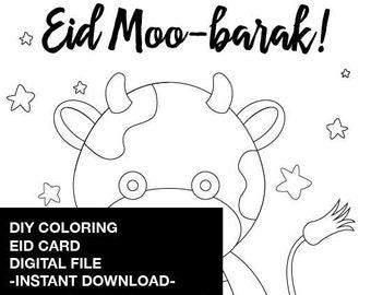 DIY Coloring Eid Card Printable - Instant Download