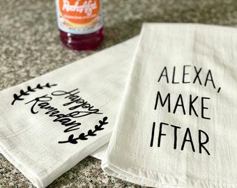 Alexa Make Iftar Kitchen Towel   Ramadan Towel   Flour Sack   Tea Towel   Funny Towels   Eid Towel   Rae Dunn-Inspired   Ramadan Decor