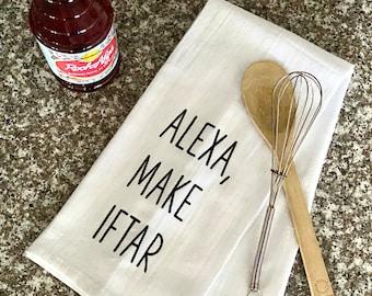 """10 """"Alexa Make Iftar"""" Kitchen Towels   Unique Ramadan Gifts    Funny Ramadan Towel   Ramadan Decor   Tea Towel"""