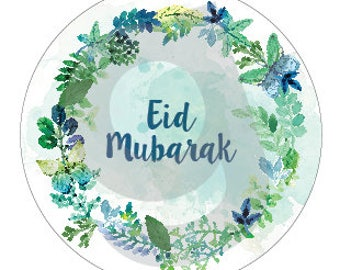 Printable Eid Mubarak floral stickers / tags / cupcake toppers