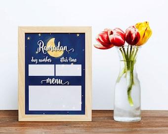 Printable Daily Erasable Ramadan Iftar Timetable Menu   DIY Print   Digital File   Ramadan Countdown