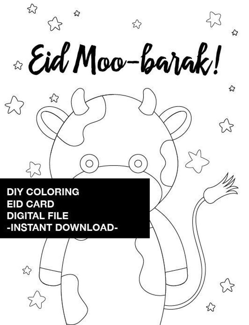 photo about Eid Cards Printable referred to as Do it yourself Coloring Eid Card Printable - Quick Obtain