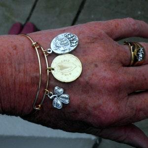 Irish Harp coin Catholic BiTone Irish themed Bracelet Irish Charm Bracelet Silvertone Shamrock and Knock Medal with Holy Water capsule.