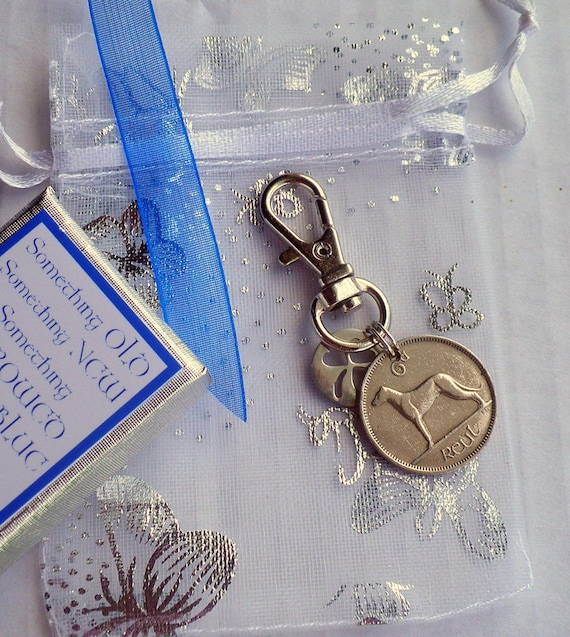 Something Blue Crystal Heart Clip-on Lucky Bridal Charm Garter Bouquet Gift Tag