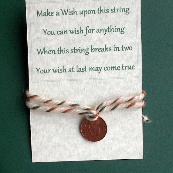 Made in Ireland Irish tweed tri-color wool string on a Greeting Card wish string with Lucky Irish Coin Childrens bracelet gift under 10