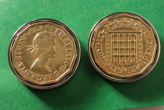 THREE PENNY COIN CUFF LINKS 1952-68th BIRTHDAY