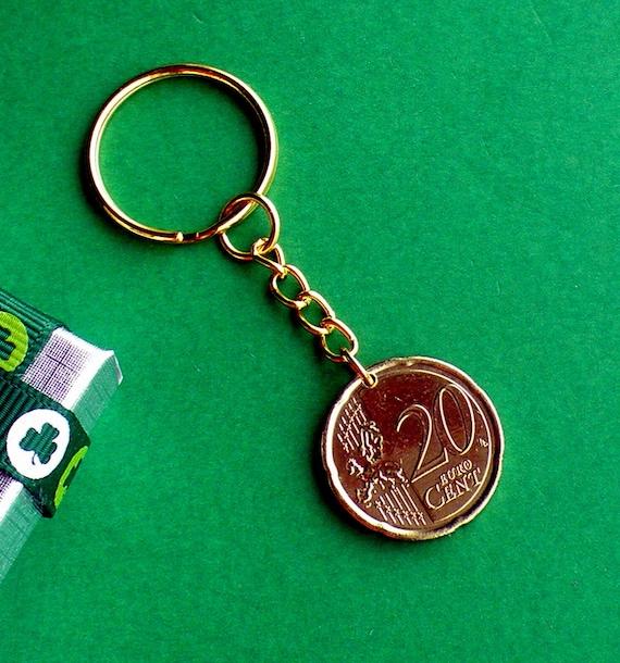 2008, 10ème anniversaire moderne Irlande Euro pièce porte-clé, Nordic Gold 20 ° c sur une voir Goldtone Keychain, paquet cadeau, datant de 2002