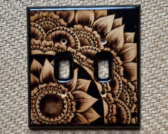 Woodburned Switchplate ~ Floral Henna Mandala Made to Order