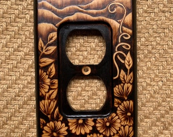 Woodburned Switchplate ~ Wildflowers and Mountains Outlet Cover Made to Order