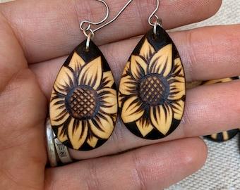 Woodburned Earrings ~ Sunflowers ~ Wood Teardrop Drop Earrings Boho Style- MADE TO ORDER