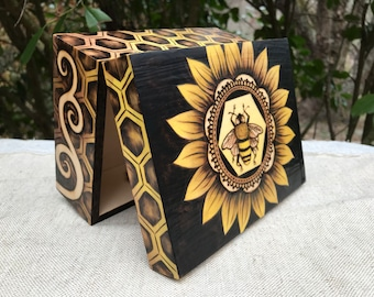 Woodburned Honeybee Honeycomb Sunflower Box - woodburned by hand, pyrography art MADE TO ORDER