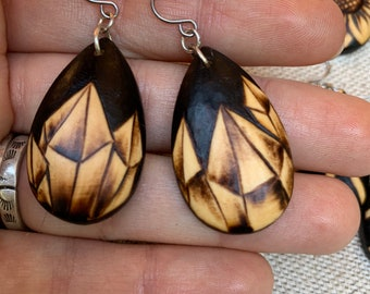 Woodburned Earrings ~ Crystals ~ Wood Teardrop Drop Earrings Boho Style- MADE TO ORDER