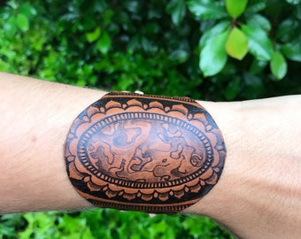 Leather Cuff~ OOAK Burned by hand