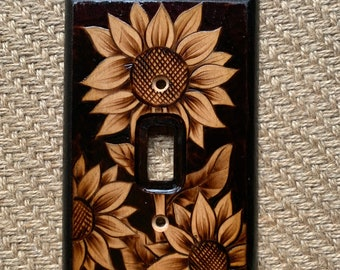 Woodburned Switchplate ~ Sunflowers Made to Order