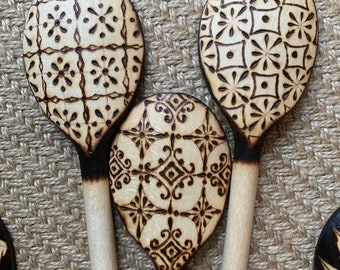 Woodburned Spoon Set ~ Folksy Geometric Patterns ~ 3 pc Decorative Kitchenware ~ Culinary Utensils Handmade Pyrography Made to Order