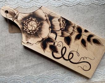 Woodburned cutting board floral