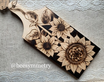Woodburned cutting board Sunflowers Made to Order