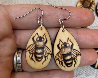 Woodburned Earrings ~ Honeybees ~ Wood Teardrop Drop Earrings Boho Style- MADE TO ORDER