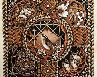12x12 print of Dreamweaver - original Woodburned artwork by Bee Locke