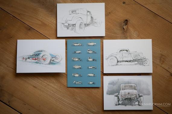 Motoring Art - Set of 5 Blank Cards - Hot Rods