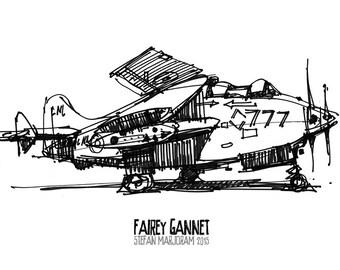 Fairey Gannet - Original A4 Marker Sketch