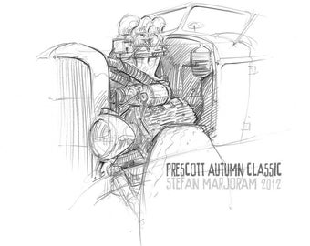1932 Model B Ford Hot Rod - Original A3 Pencil Sketch