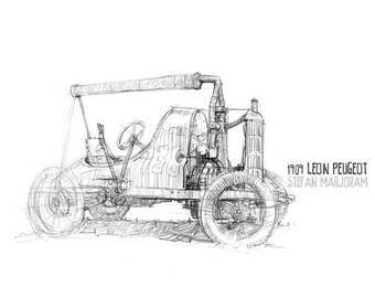 Lion Peugeot - Original A4 Pencil Sketch