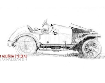 1914 Woodrow Cyclecar - Original A4 Pencil Sketch
