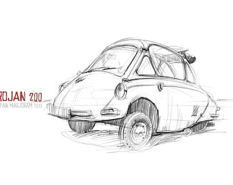 Trojan Bubble Car - Original A3 Pencil Sketch