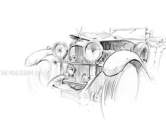 Alvis Speed 20 - Original A3 Pencil Sketch