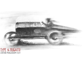 Type 16 Bugatti - Original A2 Charcoal Sketch